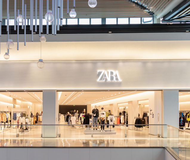 Seville, Spain - September 18, 2020: ZARA Store in Lagoh Sevilla shopping mall. Spanish apparel retailer specialized in fast fashion,  clothing, accessories, shoes, swimwear, beauty, and perfumes